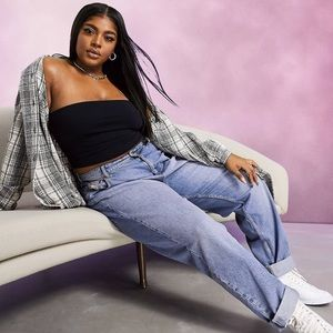 ✨ASOS Curve high rise `slouchy' mom jeans midwash✨